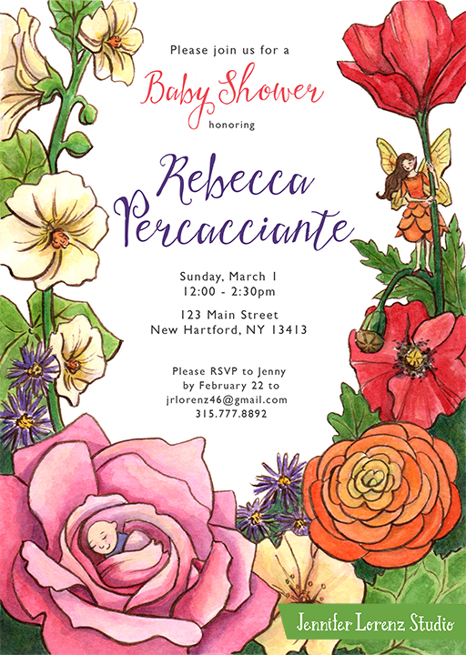 Fairy Garden Baby Shower Invitation