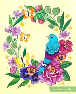 Birds and Butterflies Wreath