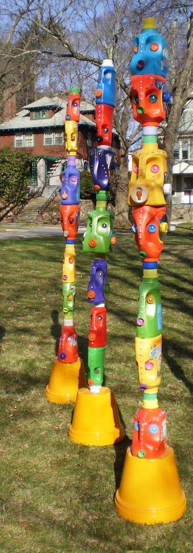 Susan Champeny | Worcester, MA | HOUSEHOLD GODS: LAUNDRY BOTTLE TOTEMS