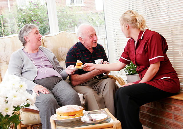 Home care aide with senior couple