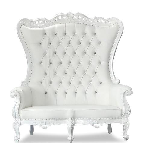 White/White Love Seat