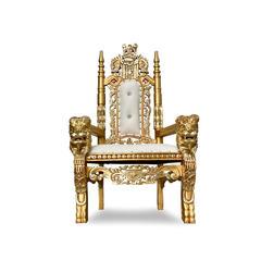 White/Gold Kids Lion Throne