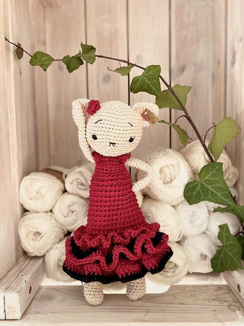 Amigurumi chat avec sa flamenco robe, un cadeau personnalisé pour la naissance a