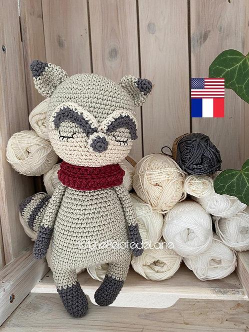 crochet pattern Raccoon Meeko  english (US)easy level