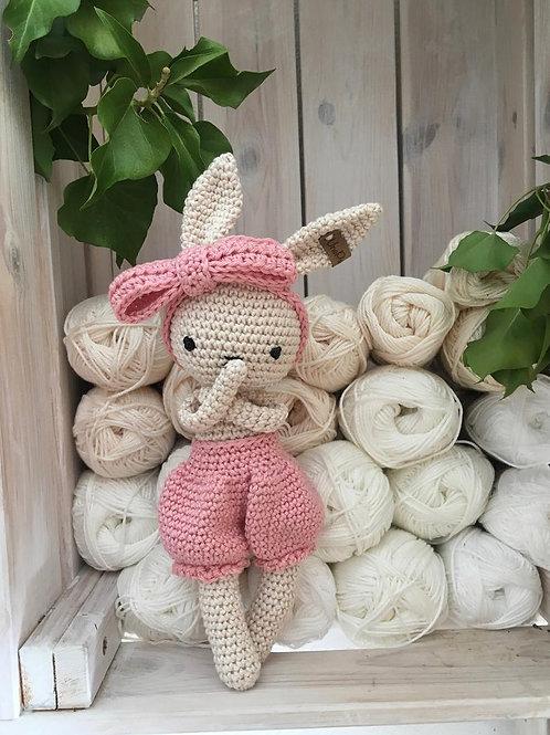 Adorable petit lapin PEPPY avec son pantalon et son bandeau , amigurumi  bébé, c