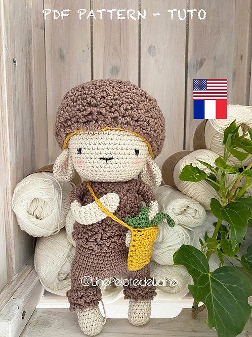 crochet pattern PDF sheep ROSE  english (US)easy level for beginner