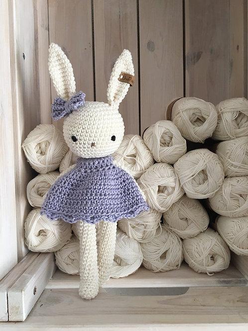 Amigurumi, adorable petit lapin RUBY au crochet avec une robe et une couleur per