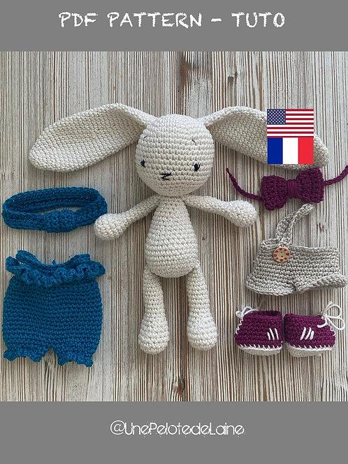 Tutoriel PDF en FrancaisVANILLA le lapin  au crochet, patron crochet