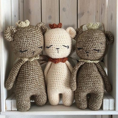 crochet TEDDY avec couronne, teddy prince princesse, cadeau naissance