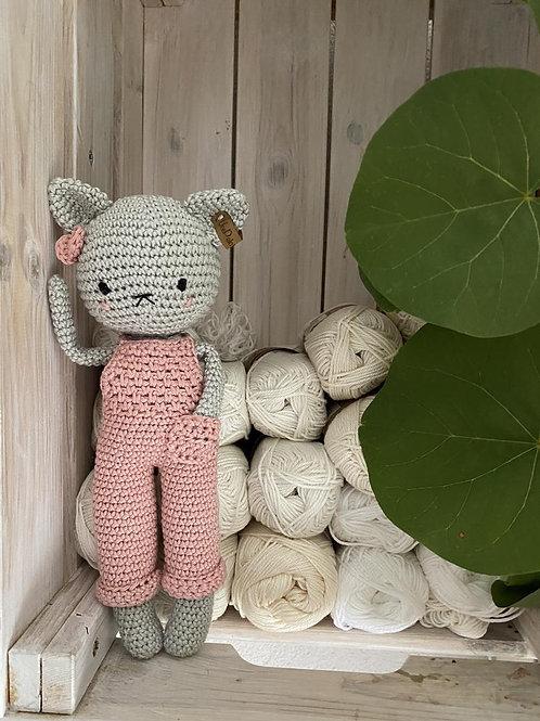 Amigurumi chat, nouveau-né crochet chat avec salopette, jouet kitty, cadeau de b