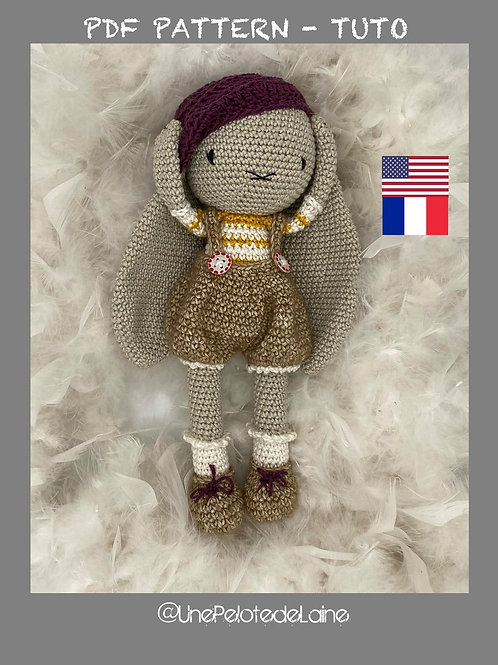 crochet pattern bunny CLOVIS  english (US)  easy level for beginners