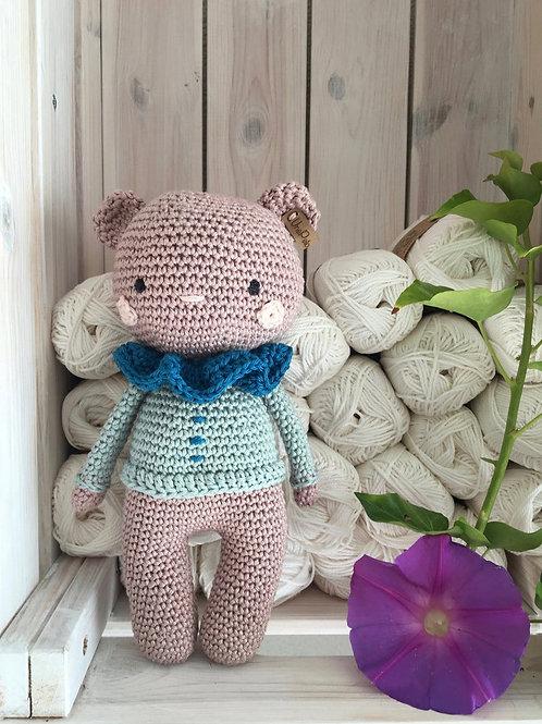 Crochet teddy nounours dans son tenue de cirque, un cadeau de naissance ou anniv