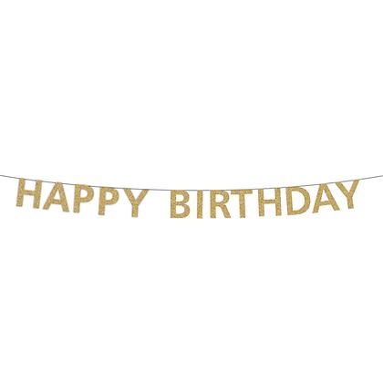 Gold Happy Birthday Banner
