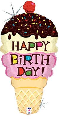 Happy Birthday Double Scoop Ice Cream