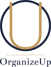 organize up logo large O U in blue and gold