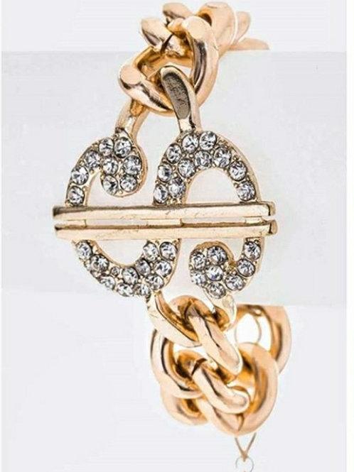 Crystal Dollar Sign Chunky Chain Bracelet
