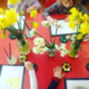 Painting sping flowers at Kindergarten