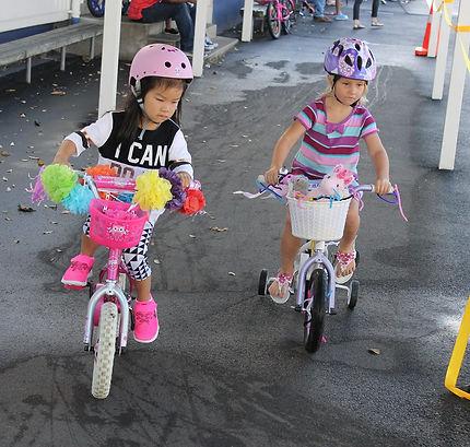 Racing at the bikeathon fundraiser