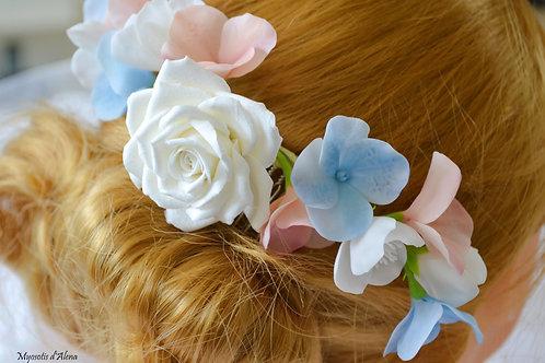 Peigne mariage champêtre, accessoires cheveux, fleurs cheveux mariée