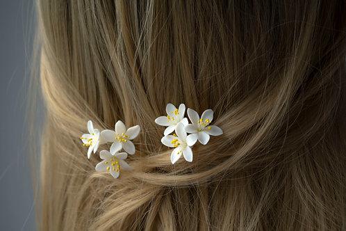 Barrettes mariée avec des fleurs, Fleurs d'oranger