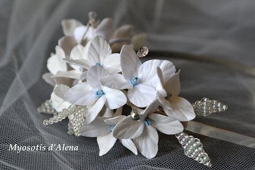 Serre-tête fleurs mariage, serre tête mariée perles et fleurs