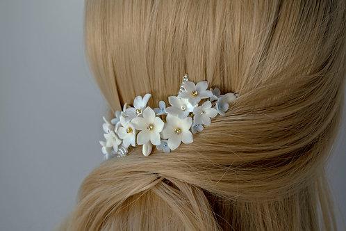 Peigne mariée, NATALIE, fleurs blanches feuilles dorées