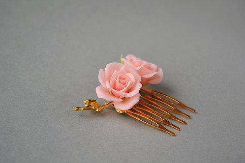 Roses pour coiffure, peigne coiffure mariage