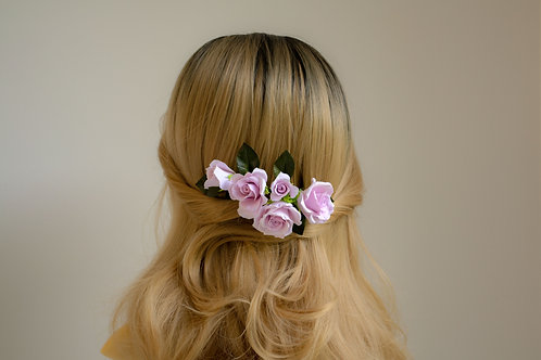 Roses violettes pour coiffure, peigne de mariée ORELIE