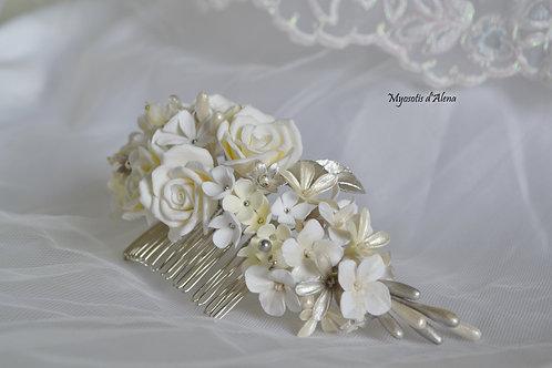 Peigne à cheveux mariée avec des fleurs, peignepour votre mariage