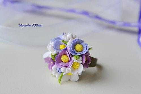Bague avec des fleurs, bague réglable bronze