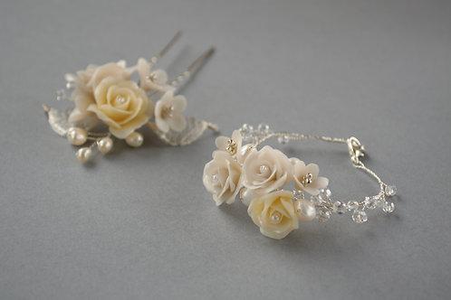 Parure mariée fleurs et cristaux, parure mariée