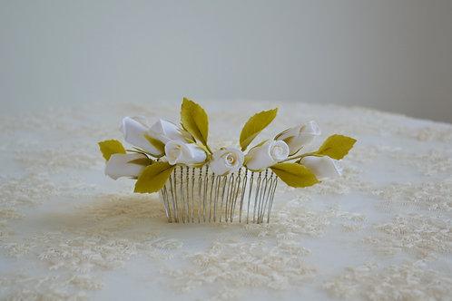 Peigne vintage roses blanches, peigne de mariée