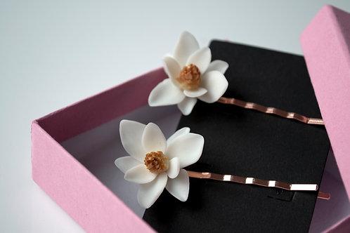 Barrette fleurs blanches, Magnolia
