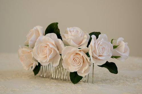 Peigne vintage roses, peigne de mariée, peigne florales, peigne à cheveux fleurs, fleurs pour coiffure mariée, accessoires ch