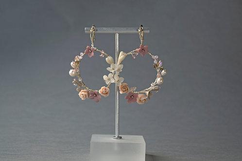 bijoux fleuris, créoles