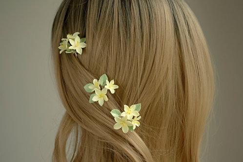 Fleurs exotiques pour la coiffure de mariage tropical