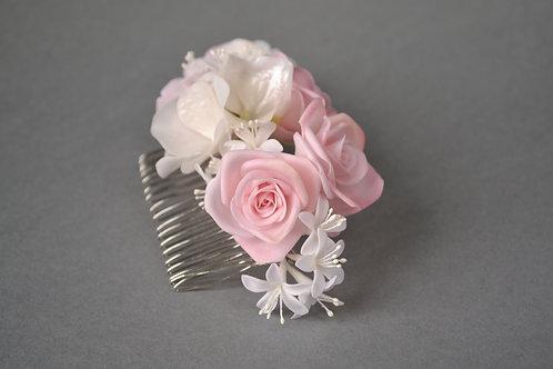 Roses pour coiffure mariée, peigne cheveux mariage, peigne chignon fleurs mariage