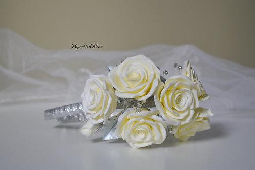 Serre-tête roses blanches, serre tête mariée perles et fleurs