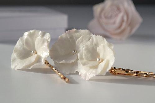 Barrettes mariée avec des fleurs, Hortensia