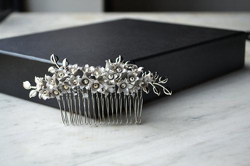 Peigne vintage mariée, fleur coiffure mariage, fleur cheveux mariée