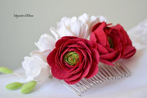 Peigne mariage thème rouge et blanc