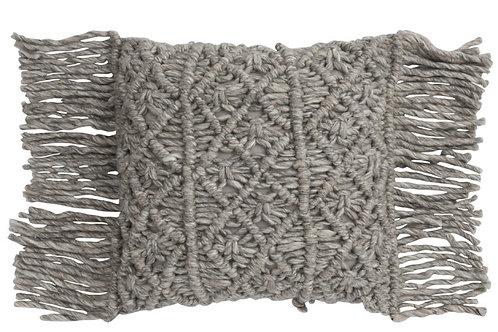 Coussin laine macramé
