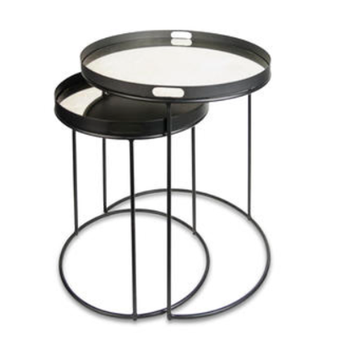 S/2 end tables round with mirror top