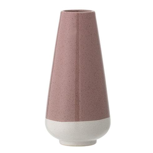 Vase rose en grès