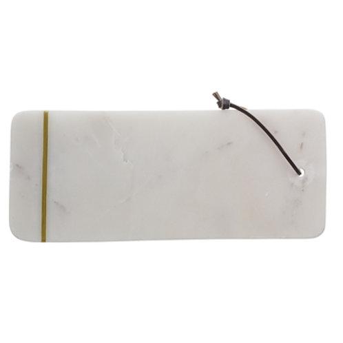 Planche à couper en marbre blanc avec liseret doré