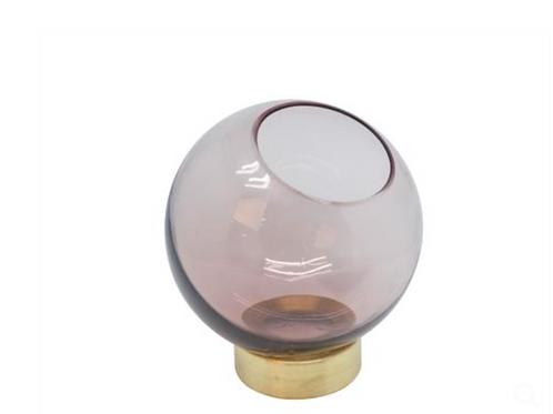 VASE BOWL GLASS ON GOLDEN STAND V2-G400/RS