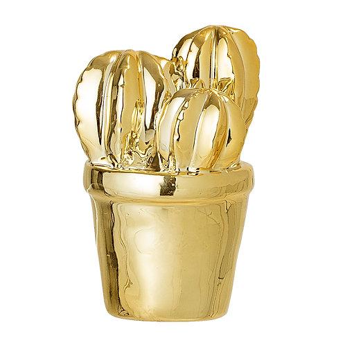 Cactus miniature en porcelaine dorée