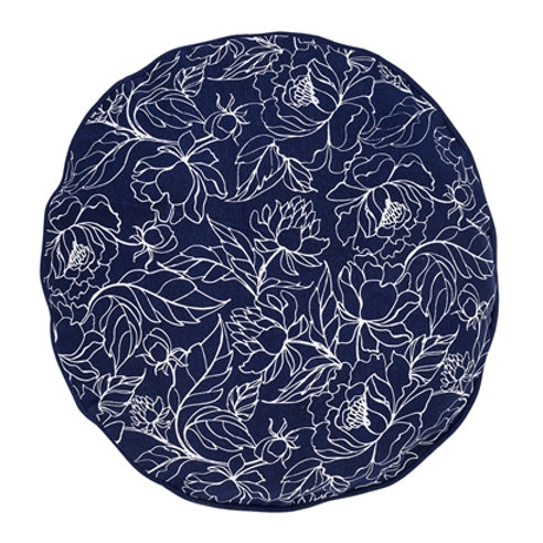 Coussin bleu en coton