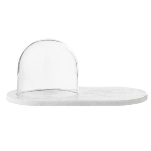 Plateau en marbre blanc avec cloche en verre