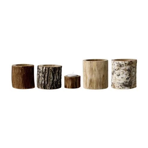 Photophore rondin de bois grand modèle